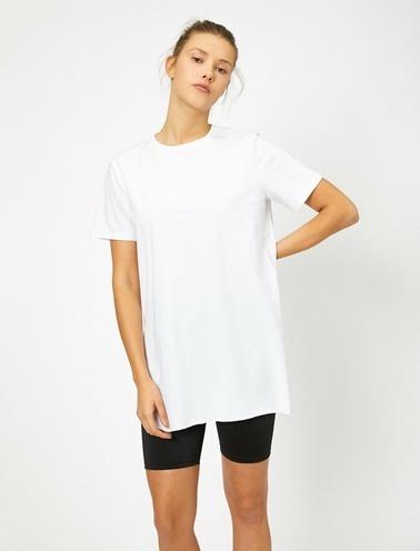 Koton Yirtmaç Detayli T-Shirt Beyaz